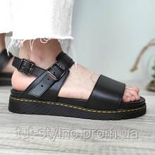 Женские сандалии в стиле Dr. Martens Voss Leather Strap Sandals, натуральная кожа, черный, Вьетнам