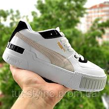 Женские кроссовки в стиле Puma Cali Sport Mix, кожа, белый, черный, бежевый, Индонезия