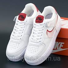 Женские кроссовки в стиле Nike Air Force 1 Shadow, кожа, белый, красный, Вьетнам