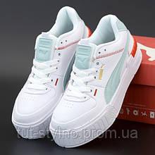 Женские кроссовки в стиле Puma Cali Sport Mix, кожа, белый, бирюзовый, Индонезия