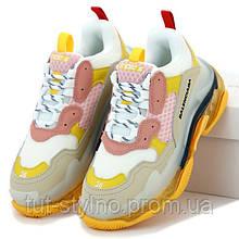 Женские кроссовки в стиле Balenciaga Triple S, желтый, бежевый, розовый, Италия