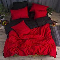 Постельное белье полуторное Ranforce красно-черное