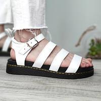 Женские сандалии в стиле Dr. Martens Blaire Hydro Leather Gladiator Sandals, натуральная кожа, белый, Вьетнам