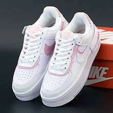 Женские кроссовки в стиле Nike Air Force 1 Shadow, кожа, белый, розовый, Вьетнам