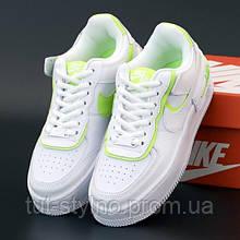 Женские кроссовки в стиле Nike Air Force 1 Shadow, кожа, белый, салатовый, Вьетнам