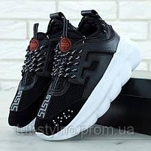 Мужские кроссовки в стиле Versace Chain Reaction, черно-белый, Италия