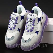 Женские кроссовки в стиле Balenciaga Triple S, фиолетовый, белый, Италия 37