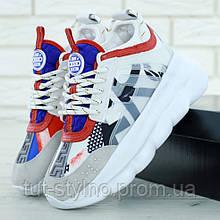 Женские кроссовки в стиле Versace Chain Reaction, белый, красный, синий, серый, Италия 37