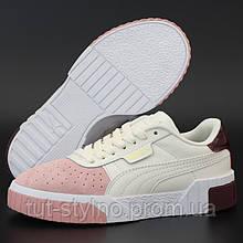 Женские кроссовки в стиле Puma Cali, кожа, белый, розовый, бордовый, Индонезия
