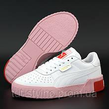 Женские кроссовки в стиле Puma Cali, кожа, белый, розовый, красный, Вьетнам