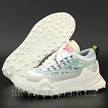 Женские кроссовки в стиле Off-White Odsy-1000, белый, серый, бирюзовый, розовый, Вьетнам