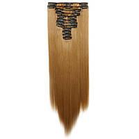Искусственные волосы на заколках. Цвет #06а Русый натуральный. Набор прядей
