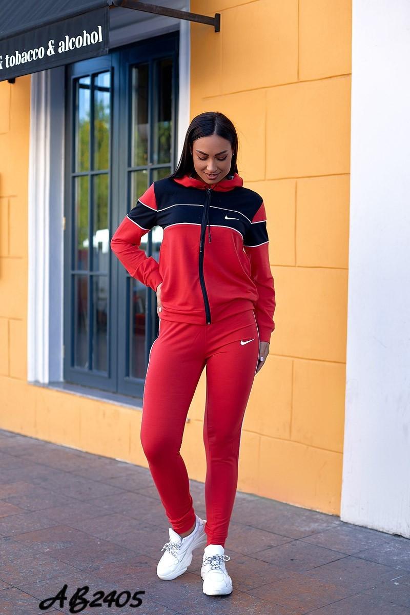 Спортивний весняний жіночий костюм трійка, кофта на змійці з капюшоном, футболка і штани, батал великі розміри