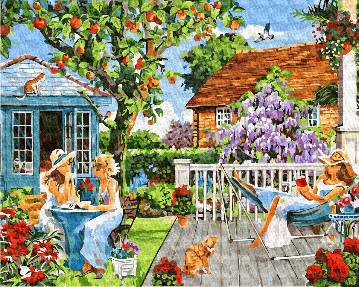 Дівчата на відпочинку в саду