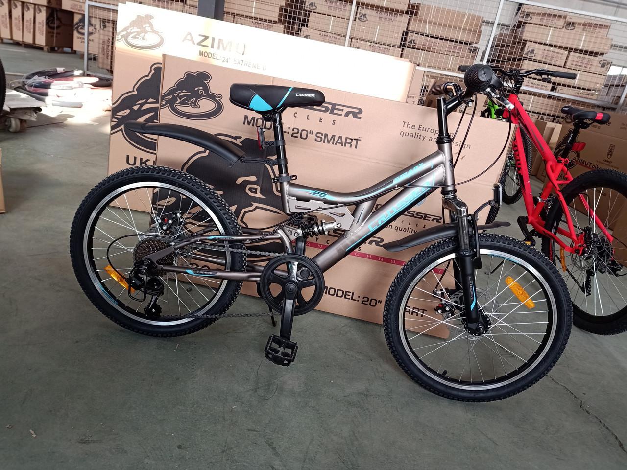 Детский велосипед скоростной Crosser Smart 20 дюймов Серо-голубой