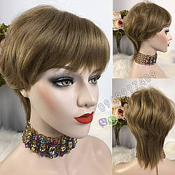 Парик русый из 50% натуральных волос, 50% искусственных волос, короткая стрижка женский