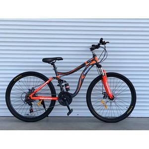 """Горный Двухподвесный велосипед TopRider 910 26"""" черно-оранжевый"""