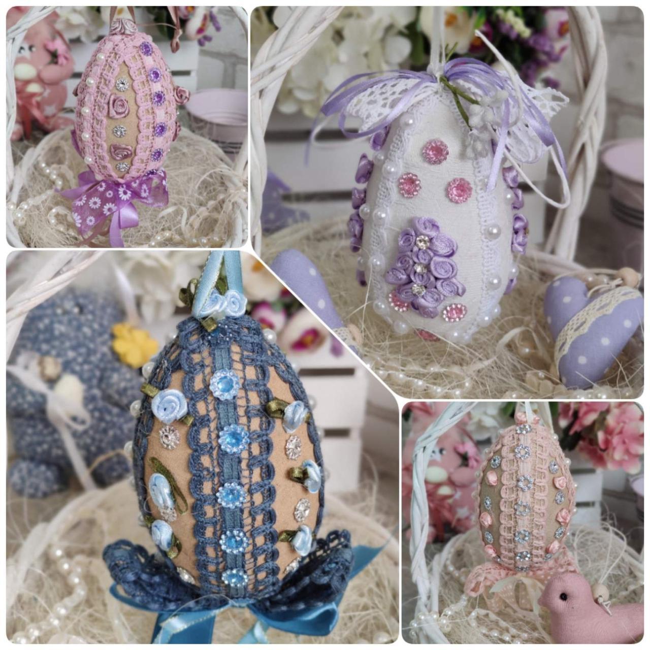 Яйцо пасхальное с кружевом, Н- 10-11 см, 95 грн, подвеска на корзину или заготовка для венка.