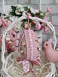 Яйцо пасхальное с кружевом, Н- 10-11 см, 95 грн, подвеска на корзину или заготовка для венка., фото 8