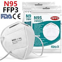 Маска респиратор защитная KN95 / FFP3 - 5 слоёв. Многоразовая маска для лица. Захисні маски респіратори 10штук