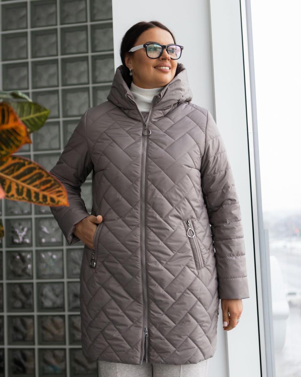 Женская демисезонная удлиненная куртка  М-234, р-ры 46-58