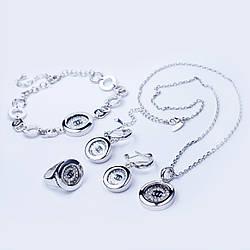 Набор (Серьги, кольцо, кулон с цепочкой, браслет)