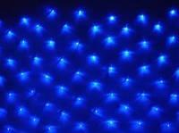 Новогодняя светодиодная прозрачная LED гирлянда сетка 1,5х1,5 м, 120 светодиода синяя, мульти