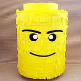Пиньята лего lego голова бумажная для праздника Піньята лего конструктор голова паперова на день народження, фото 4