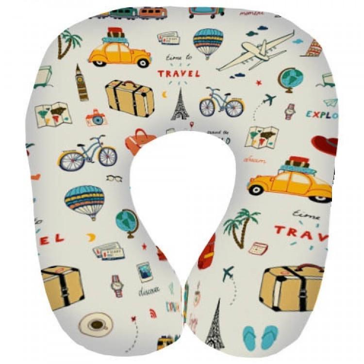 Подушка для подорожей дорожня з принтом Подорожі