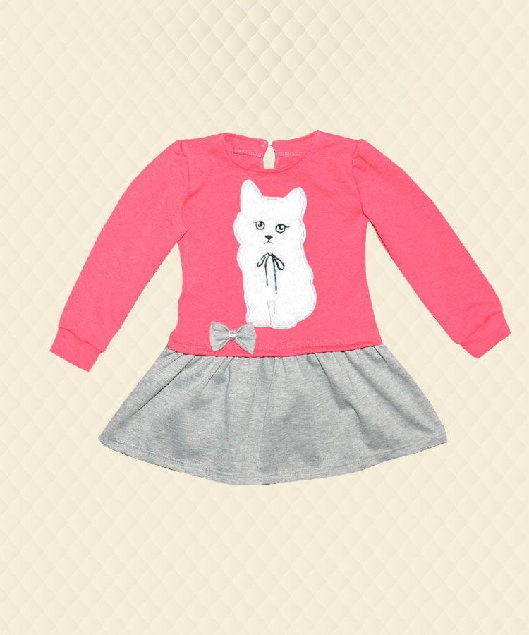 Платье для девочки Белый кот апликация двухнитка