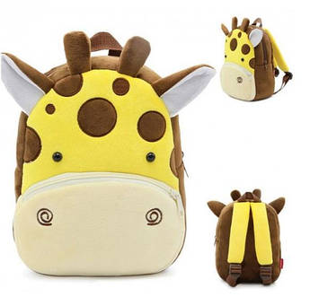 Рюкзак детский велюровый плюшевый Жираф  в садик