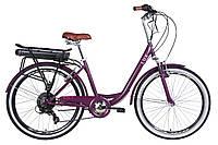 """Электровелосипед 26"""" LUX AM 350Вт 36В редуктор. дисплей, САП, 12.5Ач с крепл. к багажн., 2020 (сливовый (м))"""