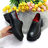 Эффектные стильные черные туфли на утолщенной подошве натуральная кожа, фото 3
