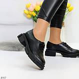 Эффектные стильные черные туфли на утолщенной подошве натуральная кожа, фото 4