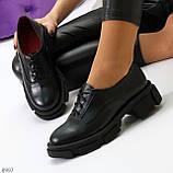 Эффектные стильные черные туфли на утолщенной подошве натуральная кожа, фото 5