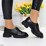 Эффектные стильные черные туфли на утолщенной подошве натуральная кожа, фото 6