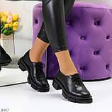 Эффектные стильные черные туфли на утолщенной подошве натуральная кожа, фото 7