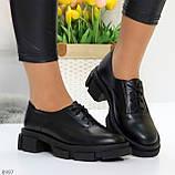 Эффектные стильные черные туфли на утолщенной подошве натуральная кожа, фото 9
