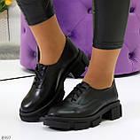 Эффектные стильные черные туфли на утолщенной подошве натуральная кожа, фото 10