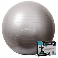 ̂ Мяч PowerPlay для фитнеса 4001 75см Серебристый, насос M24-143904