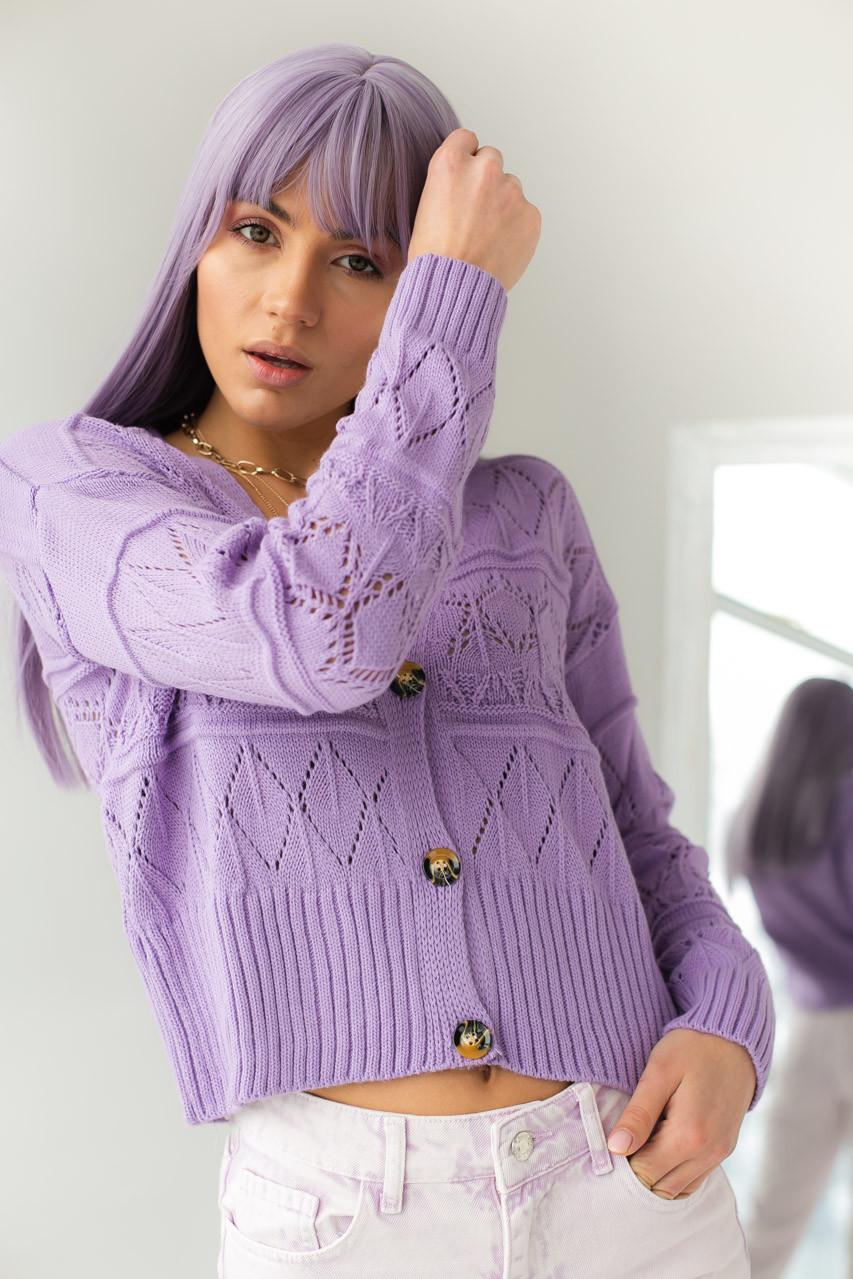 Кардиган с узором ромбы на пуговицах  VOLUMEX - фиолетовый цвет, L (есть размеры)