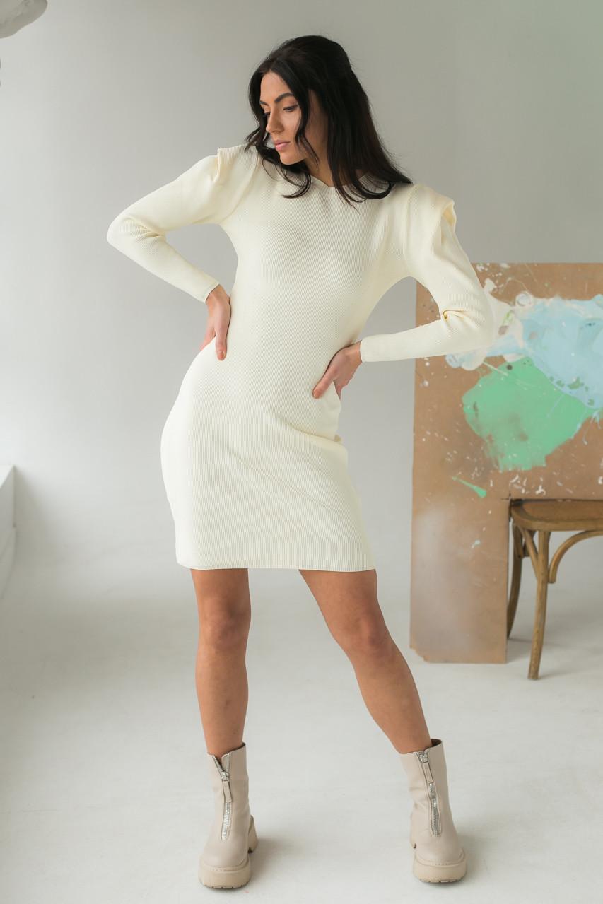 Облягаюче плаття з об'ємними рукавами Elishe - молочний колір, L (є розміри)