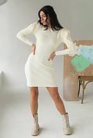 Облягаюче плаття з об'ємними рукавами Elishe - молочний колір, L (є розміри), фото 1