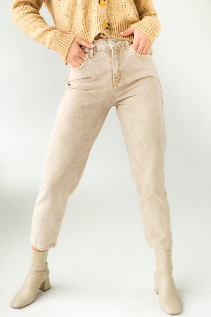 Котонові джинси мом PERRY - бежевий колір, L (40) (є розміри)