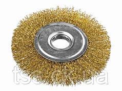 Щітка дискова з латунированной рифленого дроту D115*22,2 мм MASTERTOOL 19-9111