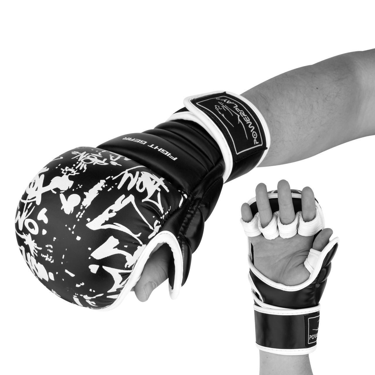 Рукавички для Karate PowerPlay 3092KRT Чорні-Білі XS M24-144798