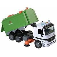 Мусоровоз игрушка детская большой с кузовом Спецтехника со светом и звуком Зеленый (22157)