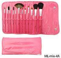 Набор натуральных кистей в розовом футляре Lady Victory, 12 шт. LDV ML-mix-4A /4-42