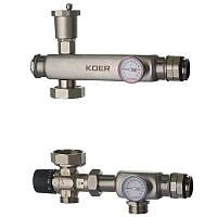 """KOER KR.S1023 Смесительный узел (с термостатическим смесит. клапаном ) 1""""НР SUS304 (8 шт/ящ)"""