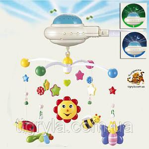 Мобиль на кроватку с ночником проектором звездного неба на добраніч, солнечный зайчик
